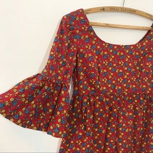 Vintage 60s 70s Hippie Bell Sleeve Dress
